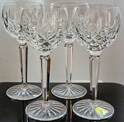 "Set of 4 Waterford Crystal ""Lismore"" White Wine Hock Glasses"