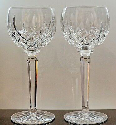 "Set of 2 Waterford Crystal ""Lismore"" White Wine Hock Glasses"