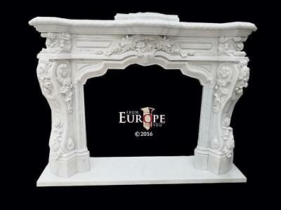 Beautiful Hand Carved Marble Estate Victorian Style Fireplace Mantel - Jp974