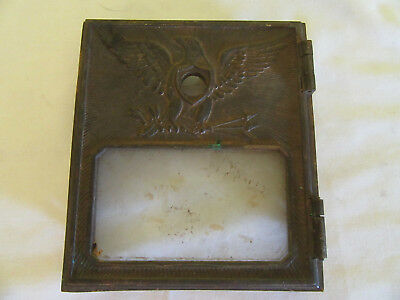 ANTIQUE 1930'S EAGLE MAIL BOX DOOR BRASS POST OFFICE WITH GLASS and Frame Hinge