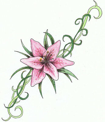 High Quality 9cm x 4.5cm Fake Tattoo Lily Flower Waterproof Temporary Body Art