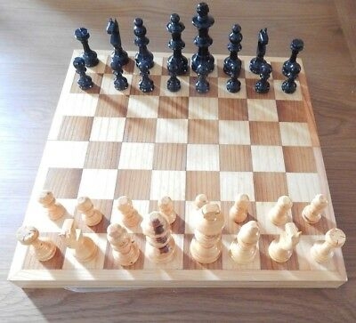 Folding Wooden Chess Set Chessboard Pieces Wood Board  30x30cm