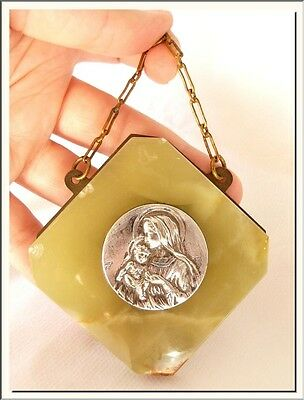 ANTIQUE FRENCH VIRGIN w/ JESUS GREEN MARBLE SHRINE PLAQUE SIGNED RUFONY !!!