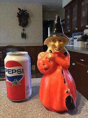 """Vintage 60s GURLEY 8 1/4"""" Candle HALLOWEEN WITCH with PUMPKIN & BROOM unused  #2"""