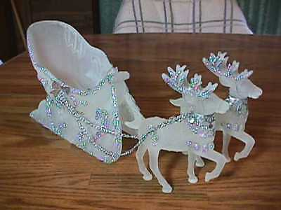 Frosted Acrylic Santa Christmas Sleigh & 2 Reindeer Sparkly Silver Chains