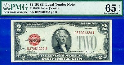 *FR-1506 1928-E $2 US Note (( Bloody Red Seal )) PMG Gem-UNC 65EPQ # D37061320A