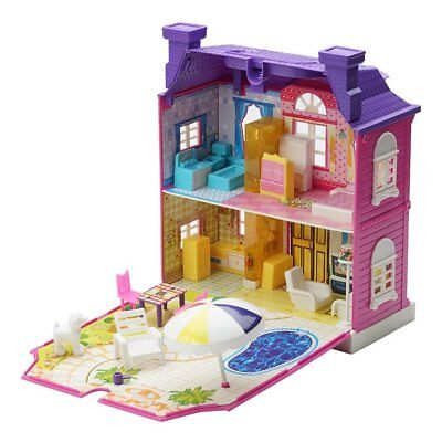 Girls Doll House Play Set Pretend Play Toy for Kids Pink Dollhouse Children UM