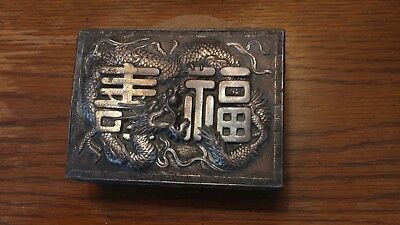 Antique Chinese Silver Dragon Humidor, a 4-5/8 inch Box in Good Condition