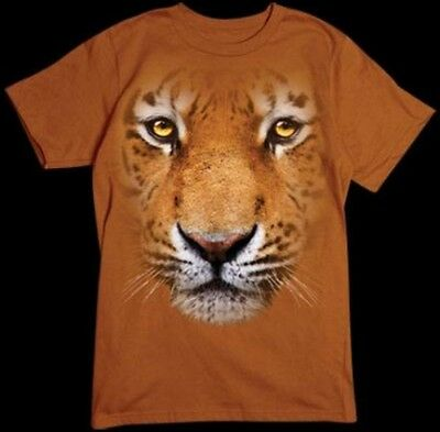 Big Tiger Face T-Shirt, Majestic, Fierce, Small - 5X, Animal T Shirt