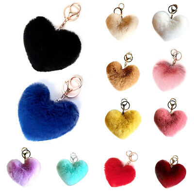 Lovely Heart Keychains Women Pom Poms Faux Rabbit Fur Ball Key Chains Bag Charm