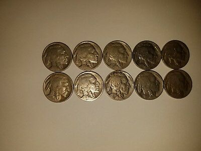 VINTAGE United States Coin Lot Of 10 Buffalo Nickels