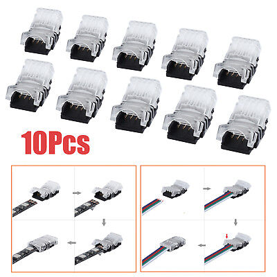 10X 10MM RGB/Single Snap Connector 4Pin JOINER Wire LED Strip Light Solderless