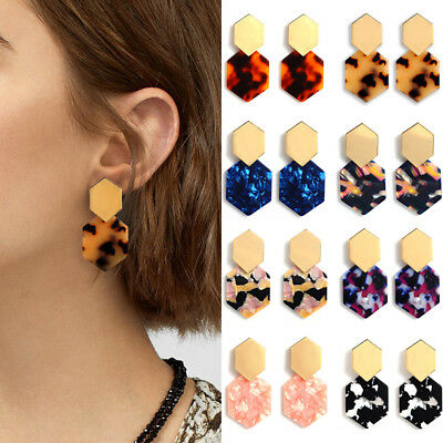 Acrylic Leopard Print Hexagon Drop Dangle Earrings Colorful Geometric Ear Studs