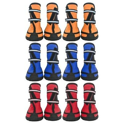 Waterproof Boots Pet Dog Puppy Booties Anti-slip Protective Rain Shoes 4Pc NEW