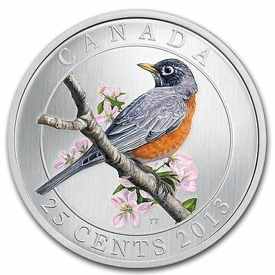 2013 ~ $.25 CENT ~ BIRDS of CANADA ~ AMERICAN  ROBIN ~ COLORIZED COIN ~ $9.99 NR