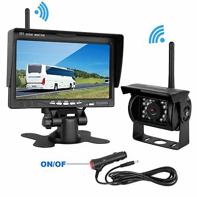 "Wireless Car Backup Camera Night Vision + 7"" Rear View Monitor For RV Truck Bus"