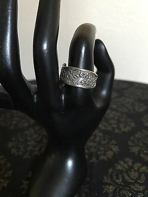 Vintage Decorative Spoon Ring Silver Tone Floral Adjustable