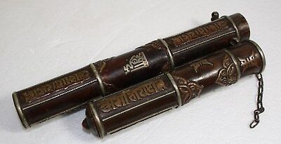Antique Chinese/Tibetan Scroll Holder Copper and Silver with Jewel and Chain