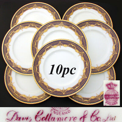 "Antique Minton 1916 Marked 8pc 10.25"" Dinner Plate Set, Raised Gold on Cobalt"