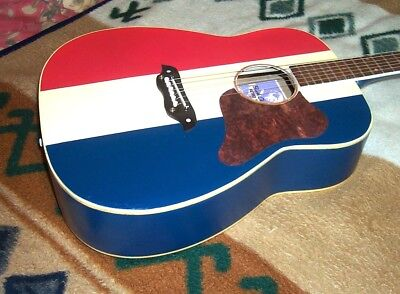 Vintage Retro Buck Owens Acoustic Guitar American Red White And Blue