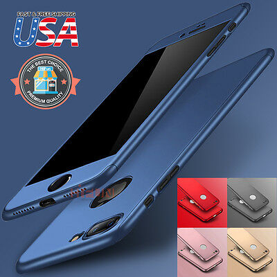Fits iPhone X/8/7/Plus 360 Hybrid Full body case Tempered Glass Screen Protector