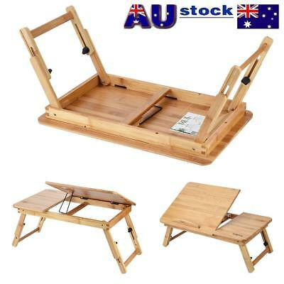 Multi Function Foldable Bamboo Laptop Bed Desk Table Cooling Holder Tray Stand