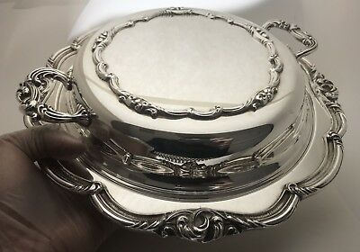 "Vintage English Silver Manufacturing Corp. USA Silver Plate 11"" Tray"