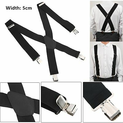 5CM Men's Color X-Back Clip Suspenders Adjustable Elastic Retro Formal Dress BW