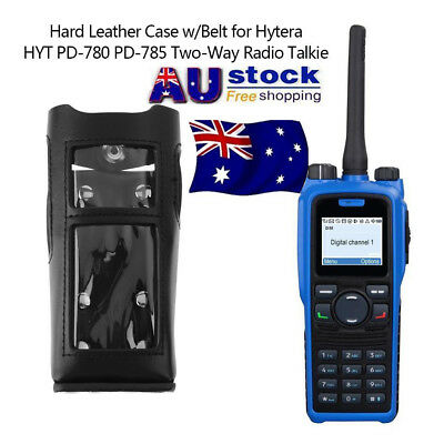 AU Hard Leather Case w/Belt for Hytera HYT PD-780 PD-785 Two-Way Radio Talkie