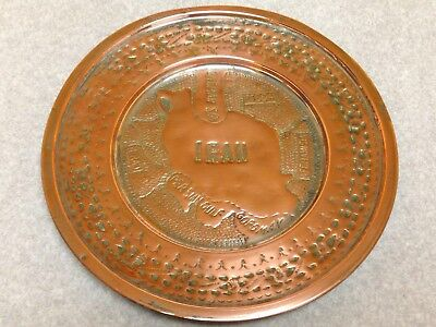 Vtg Persian Iran Map Hand Hammered Copper Metal Tray Middle East
