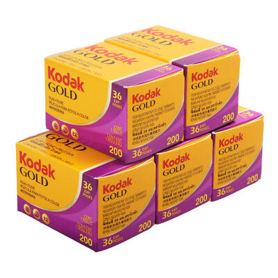 5 Rolls Kodak Gold 200 ISO 35mm 36exp Color Print Negative Film Freshest 06/2020