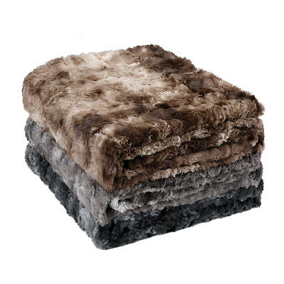 "60""x80"" Flannel Blanket Soft Warm Faux Fur Throw Fleece Blanket Mink Sofa Bed"