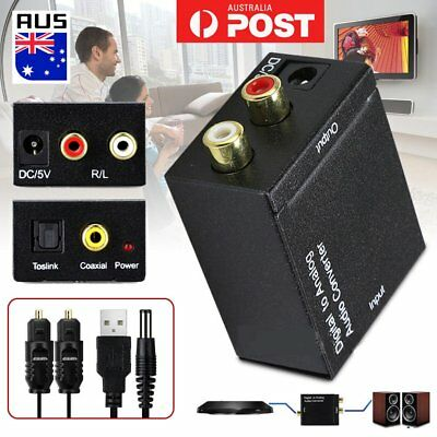 Digital to Analogue Audio Converter Coaxial Coax Optical Toslink RCA Adapter QK