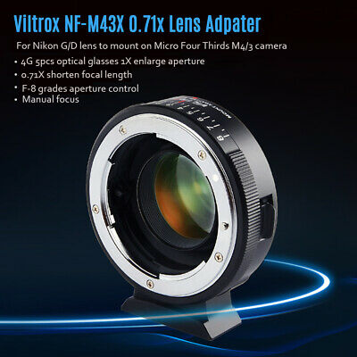Viltrox NF-M43X MF Lens Adapter Ring for Nikon G D Lens to Micro M4/3 Camera