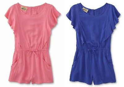 Girls Flutter Sleeve Woven Short Romper-NEW- Size 7/8 10/12 14 16-Pink or Purple
