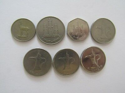 Lot of 7 Different United Arab Emirates Coins - 1973 to 2014 - Circulated & BU