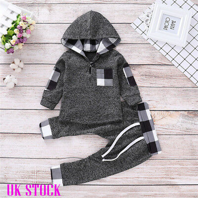 UK Toddler Baby Boy Check Hooded Top Hoodies Pant Autumn Tracksuit Clothes Set