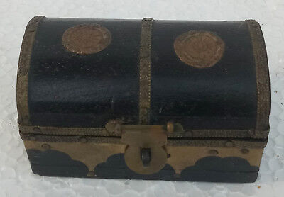 Vintage Old Design Wooden Hand Made Copper Fitted Trinket Jewelry Box