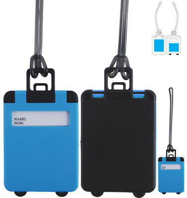 6 x BLUE LUGGAGE TAGS SUITCASE BAG TAG LABEL NAME ADDRESS ID TAGS TRAVEL HOLIDAY