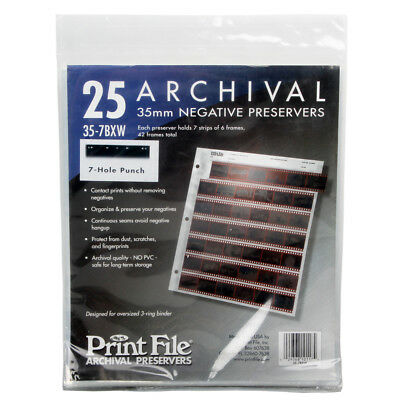25x Print File Archival 35mm 135 Negative Preservers Pages Sleeves Film 35-7BXW