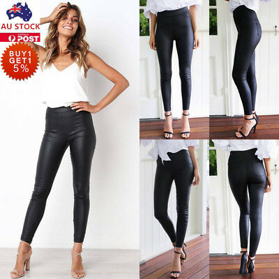Womens Wet Look PU Leather High Waist Leggings Ladies Stretch Pant Trousers