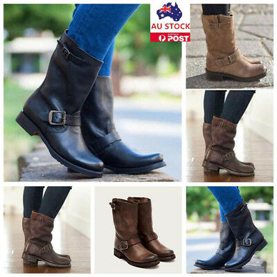 Womens Ladies Mid-Calf Buckle Leather Ankle Boots Block Heel Flat Shoes Size 3-6