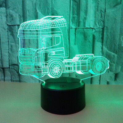 Acrylic Truck Designed 3D illusion Night Light 7 Color LED Desk Table Lamp Decor