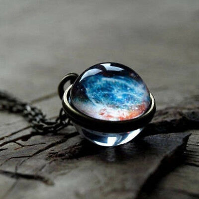 Glow In Dark Retro Galaxy Universe Glass Ball Pendant Luminous Women Necklace