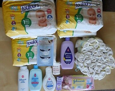 Newborn skincare products (mainly Johnson's) and nappies (free Pampers nappies)