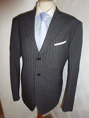 Mens Boggi Milano Italy Grey Chalk Stripe Wool Suit Jacket 40 Waist 32 Leg 30.5