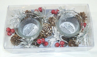 Pier 1 Tealight Gift Set, 2 Decorative Christmas Wreath Tea Light Candle Holders