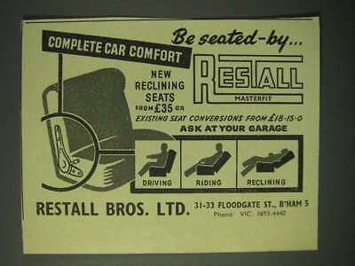 1960 Restall Bros. Masterfit Reclining Seats Ad - Be seated-by