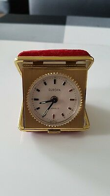 EUROPA RED TRAVEL ALARM CLOCK & JEWELLERY BOX SET - 7 Jewels In original box