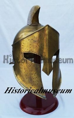 Brass ANTIQUE King Leonidas Spartan Knight 300 Movie Armor HELMET REPLICA